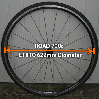 Road 700c diameter wheels with ETRTO