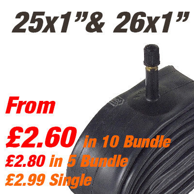 "26"" x 1"" / 650c Inner Tube Car Valve (also 25x1"") - From £2.80"