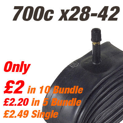 "Touring & Commuter 700c Inner Tube Car Valve (also 27/28"") - From £2"