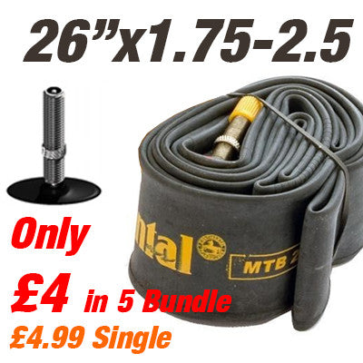 "Continental MTB 26x1.75-2.5"" Car Valve Inner Tube - From £4"