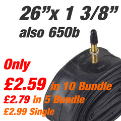 "26"" x 1 3/8"" Inner Tube Presta (also 650x32-47b"") - From £2.50"