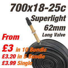 Superlight Long Valve Road Inner Tube 700 x 18-25c Presta 62mm Valve