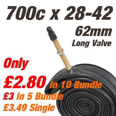 "Touring & CX Long Valve 700c Inner Tube Presta Valve (also 27/28"") - From £2.80"