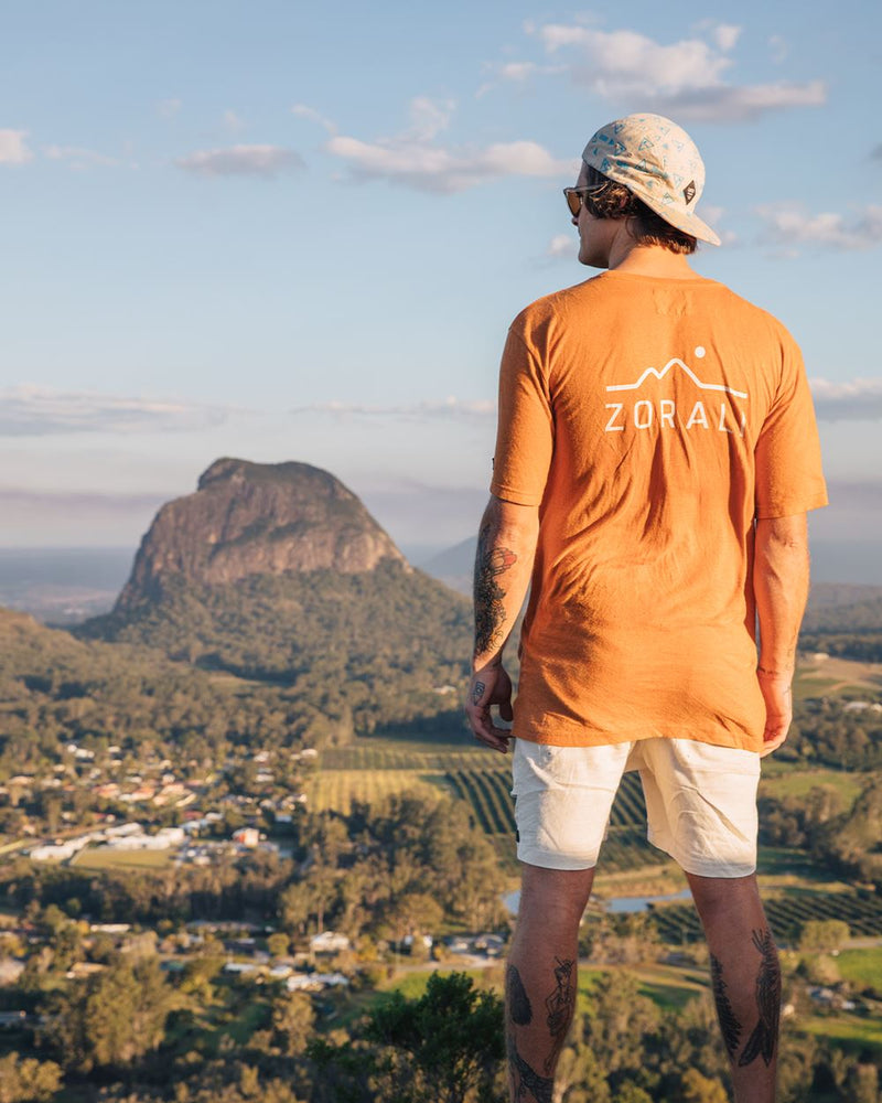 Hemp Logo Tee Sunset Orange Unisex Tops Zorali