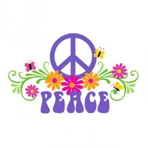 Large Peace & Flowers Wall Mural | Kids