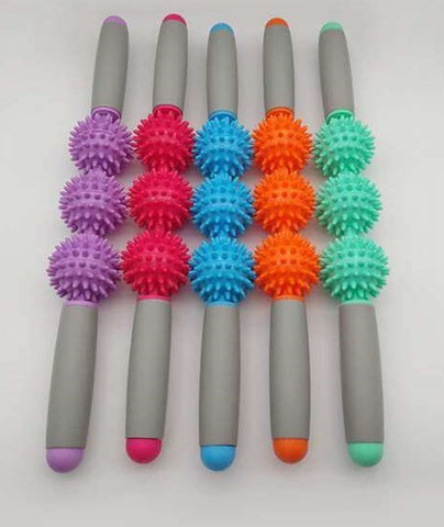 Gym Muscle Massage Roller Yoga Stick Muscle Body Massage Relax Tool With Pointed Spiky Ball Fitness