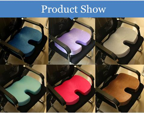 Memory Foam Bamboo Charcoal Infused Ventilated Orthopedic Seat Cushion for Coccyx Back Support