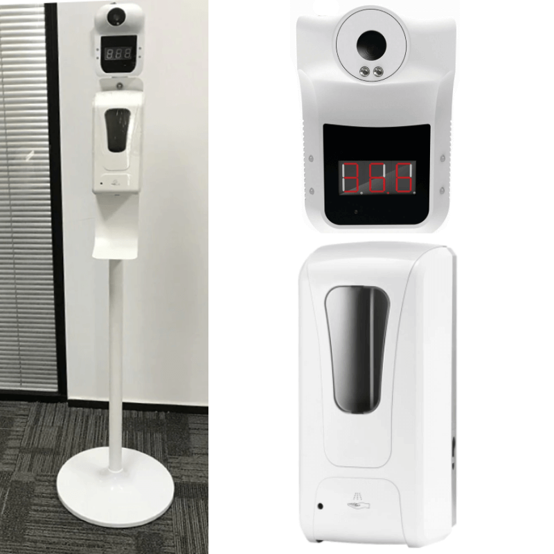 Commercial Hand Sanitizer Stations Thermometer Checking