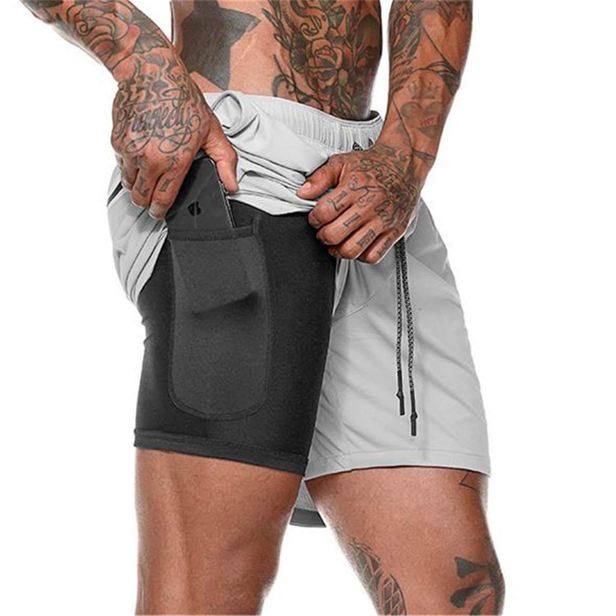 Light Gray Secure Pocket Fitness Shorts
