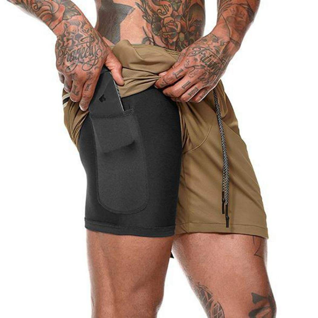 Brown Secure Pocket Fitness Shorts