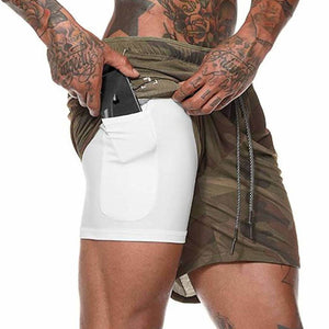 Brown Camouflage Secure Pocket Fitness Shorts