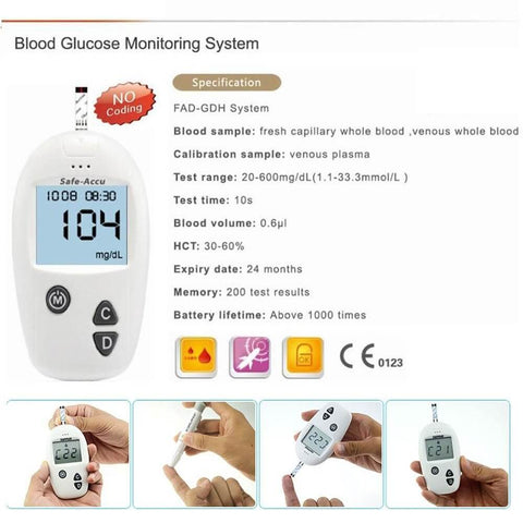 Smart Blood Glucose Meter & 50 Test Strips Lancets