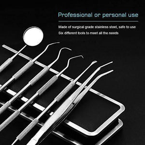 6pcs Stainless Steel Dental Tool Pick Probe Kit Set Dentist Teeth Clean Hygiene