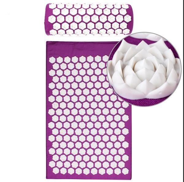 Purple Yoga Mats Massager Set Massage Acupressure Mat Relieve Stress Pain Spike Protective Mat