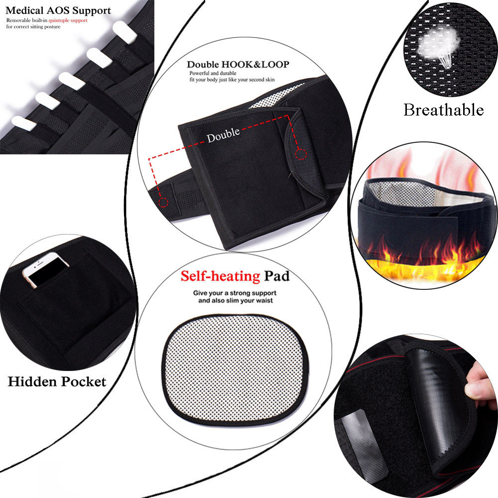 Adjustable Tourmaline Self-heating Magnetic Therapy Waist Belt Lumbar Support Back