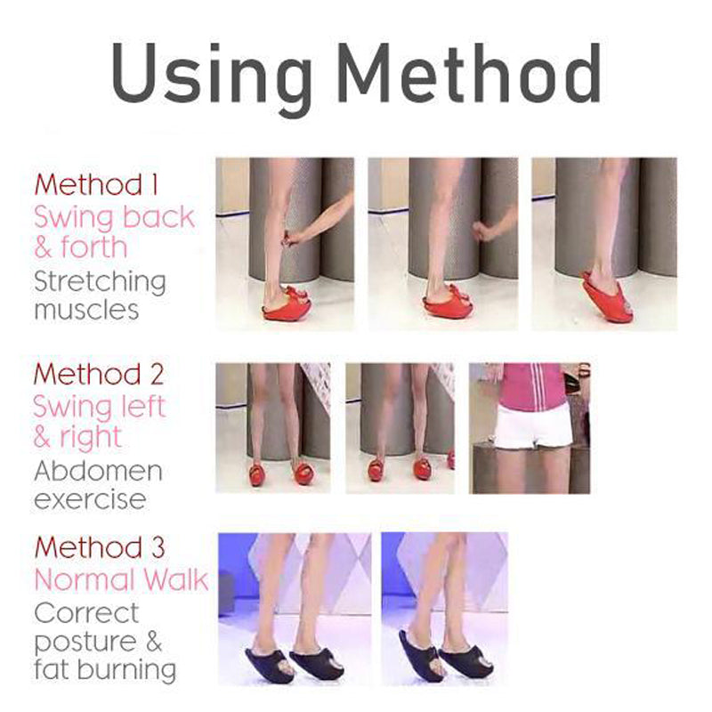 Japanese Rocker Bottom Slimming Shoes Using Method