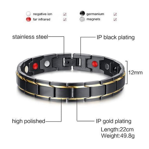 Men's Powerful Magnetic Therapy Bracelet Black and Gold Chain