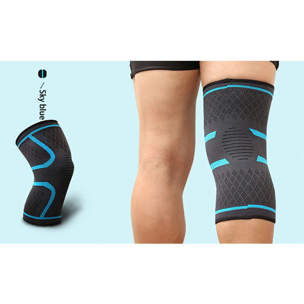 Compression Knee Sleeve Brace Patella Stabilizer Support Blue