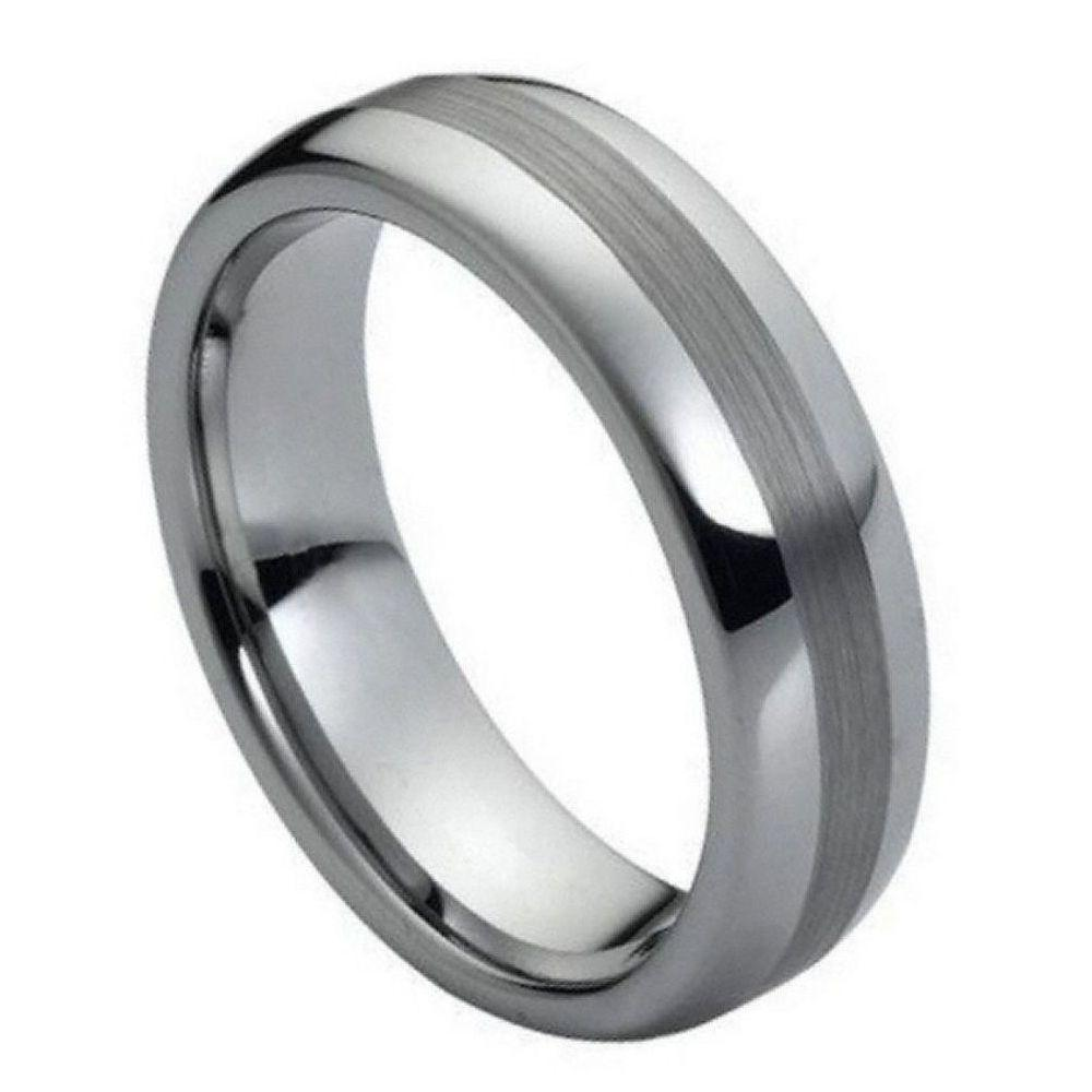 Polished Shiny with Brushed Center- 6mm