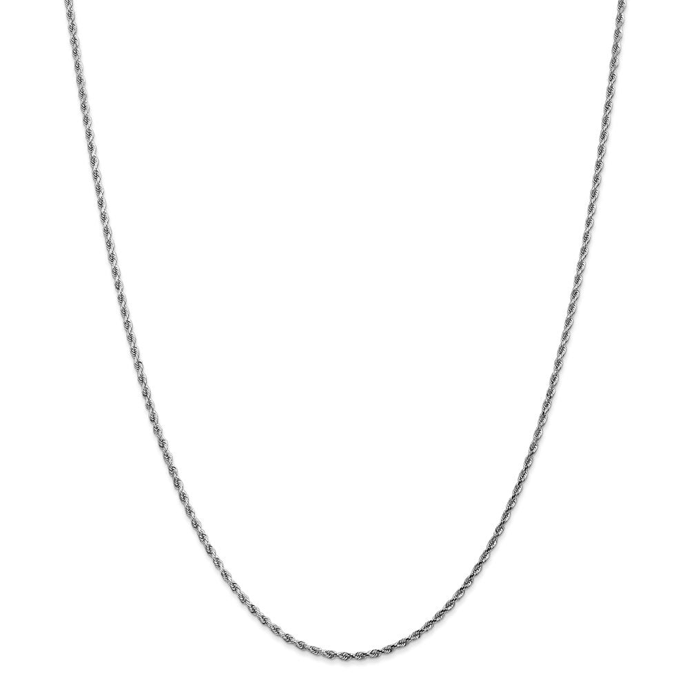 14k White Gold 1.75mm Diamond Cut Rope Chain