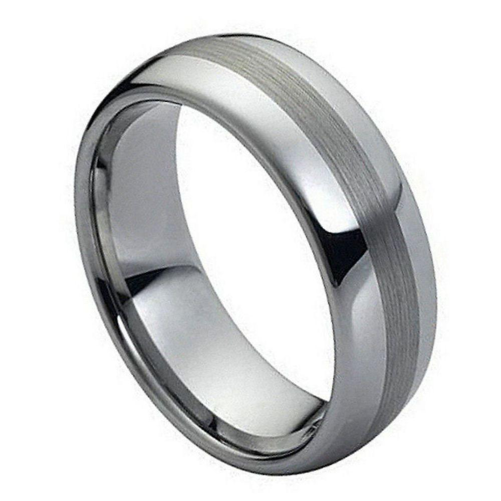 Polished Shiny with Brushed Center - 8mm