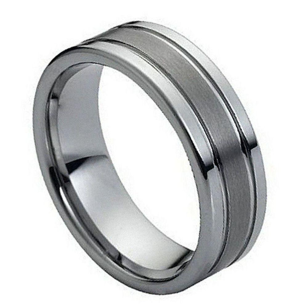 Ring Polished Shiny Double Grooved Brushed Center - 8mm