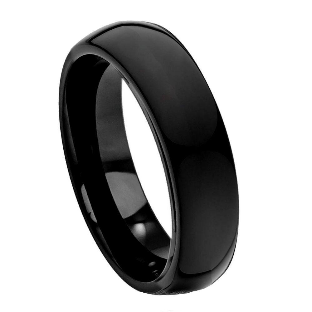 High Polish Black IP Plate Classic Domed Band- 6mm