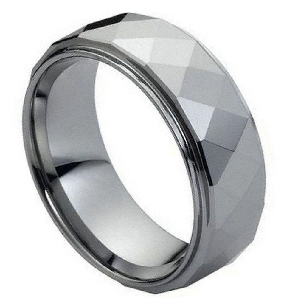 Domed Faceted Ring Stepped Edge - 8mm