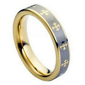 Yellow Gold Plated Laser Engraved Crosses Design - 5mm
