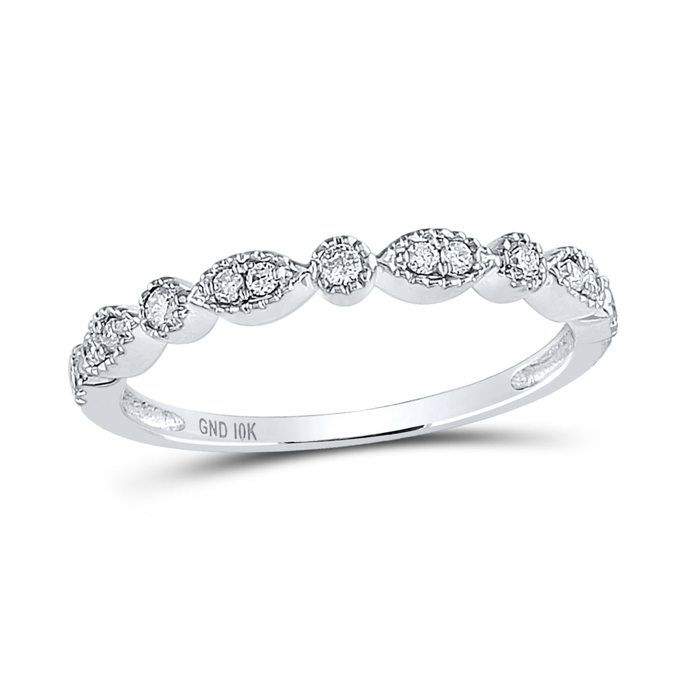 10K White Gold 1/6 Carat TW Diamond Stackable Band