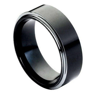 High Polish Black IP Plated Stepped Edge - 8mm