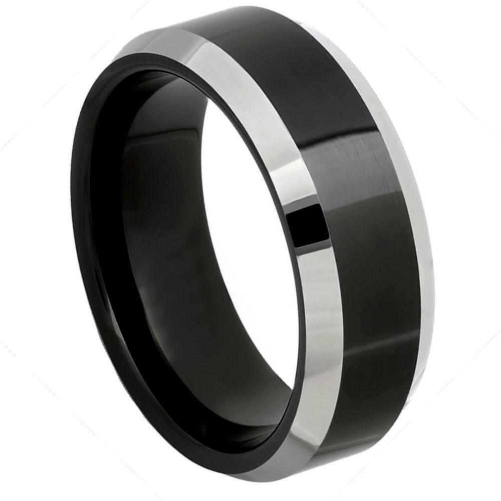 Black IP Plated Center High Polished Steel Color Beveled Edge - 8mm