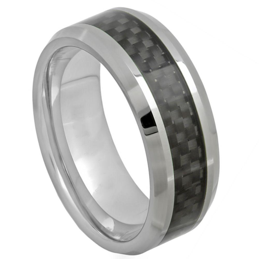 High Polish with Black Carbon Fiber Inlay - 8mm