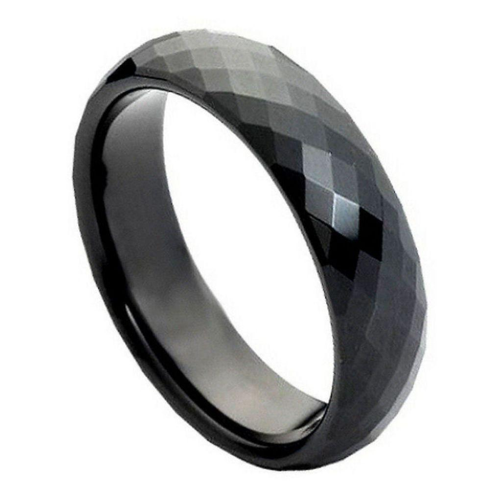 Black IP Plated Faceted Ring- 6mm