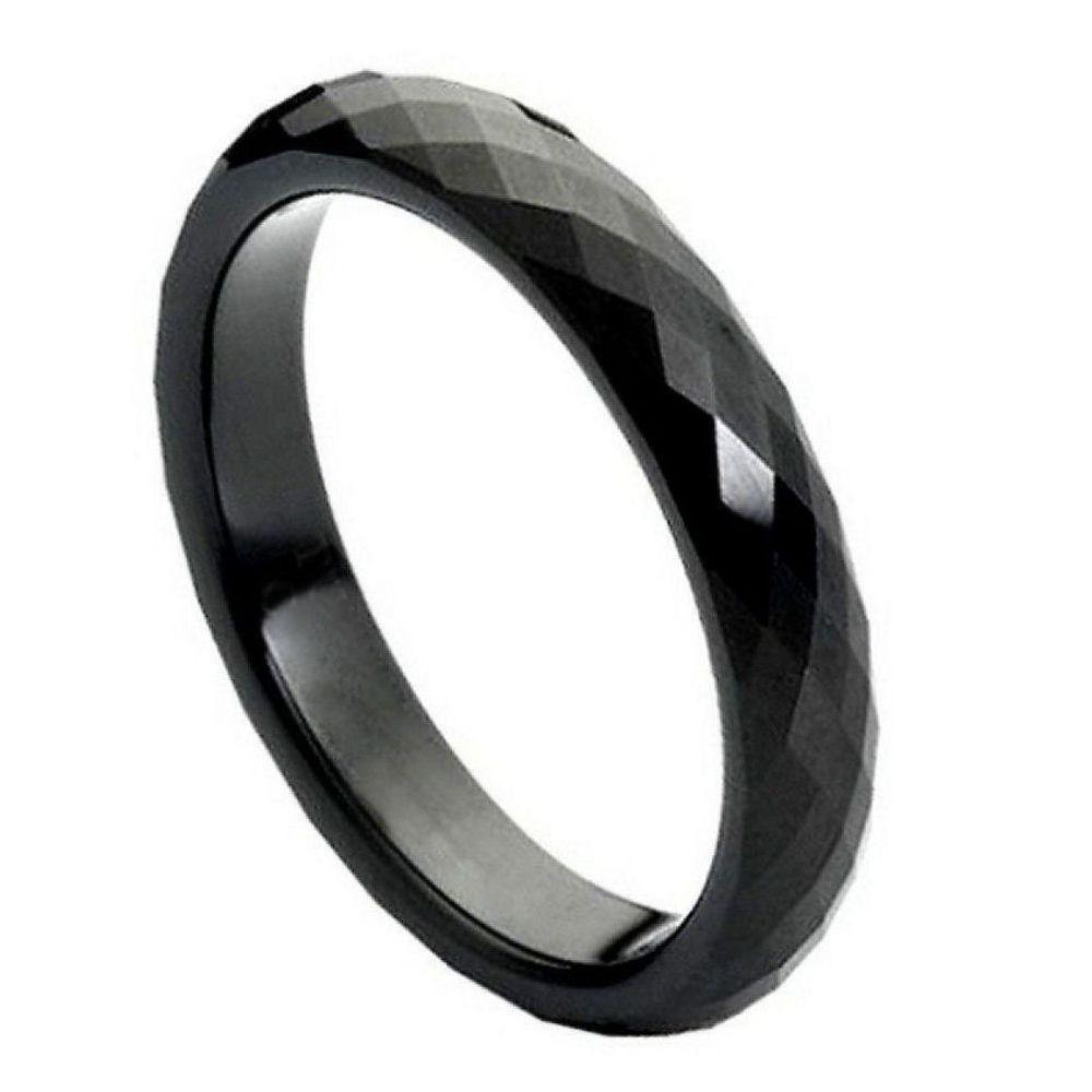 Black IP Plated Faceted Ring - 4mm