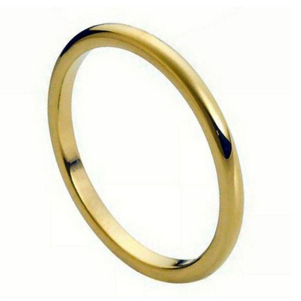 High Polish Yellow Gold Plated Thin Band 2mm
