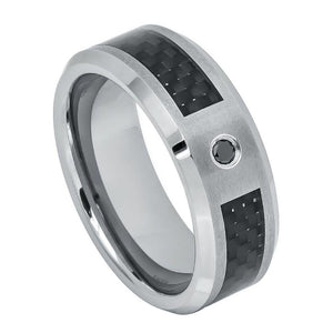 Black Carbon Fiber Inlay with 0.07ct Black Diamond - 8mm