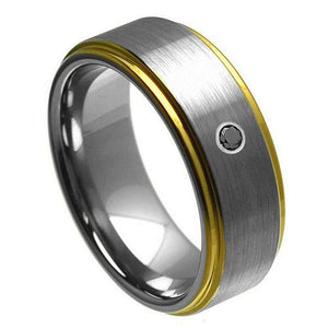Yellow Gold Plated Edge with 0.07ct Black Diamond Center Stone - 8mm