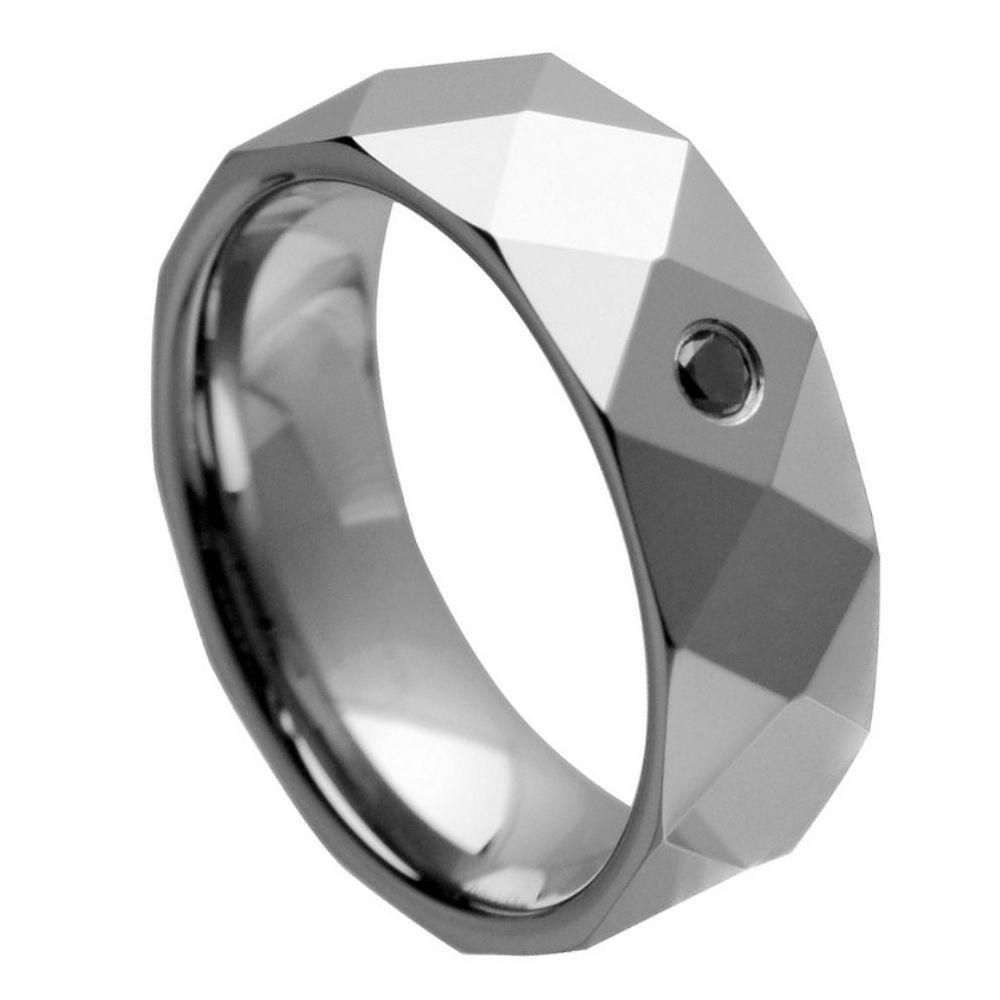 Faceted Shiny Finish with 0.07ct Black Diamond - 8mm