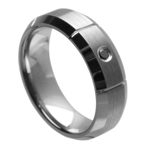 Multi-Grooved Brushed Center with 0.07ct Black Diamond Center - 7mm