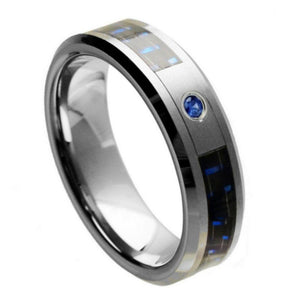 Blue & Black Carbon Fiber Inlay with 0.07ct Blue Sapphire Center Stone - 6mm