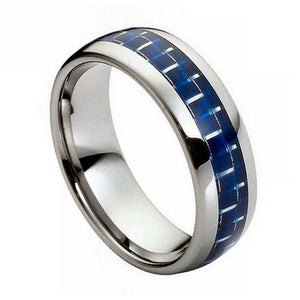High Polish with Blue Carbon Fiber Inlay - 8mm