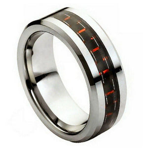 Black & Red Carbon Fiber Inlay - 8mm