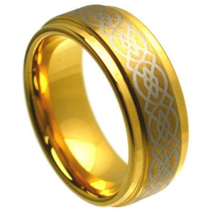 Yellow Gold Plated High Polish Laser Engraved Celtic Knot Pattern - 8mm