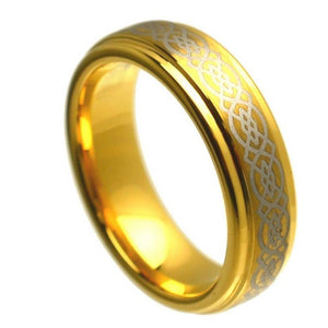 Yellow Gold Plated Stepped Edge High Polish Laser Engraved Celtic Knot Pattern- 6mm