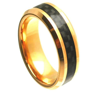 Yellow Gold Plated High Polish with Black Carbon Fiber Inlay Beveled Edge - 8mm