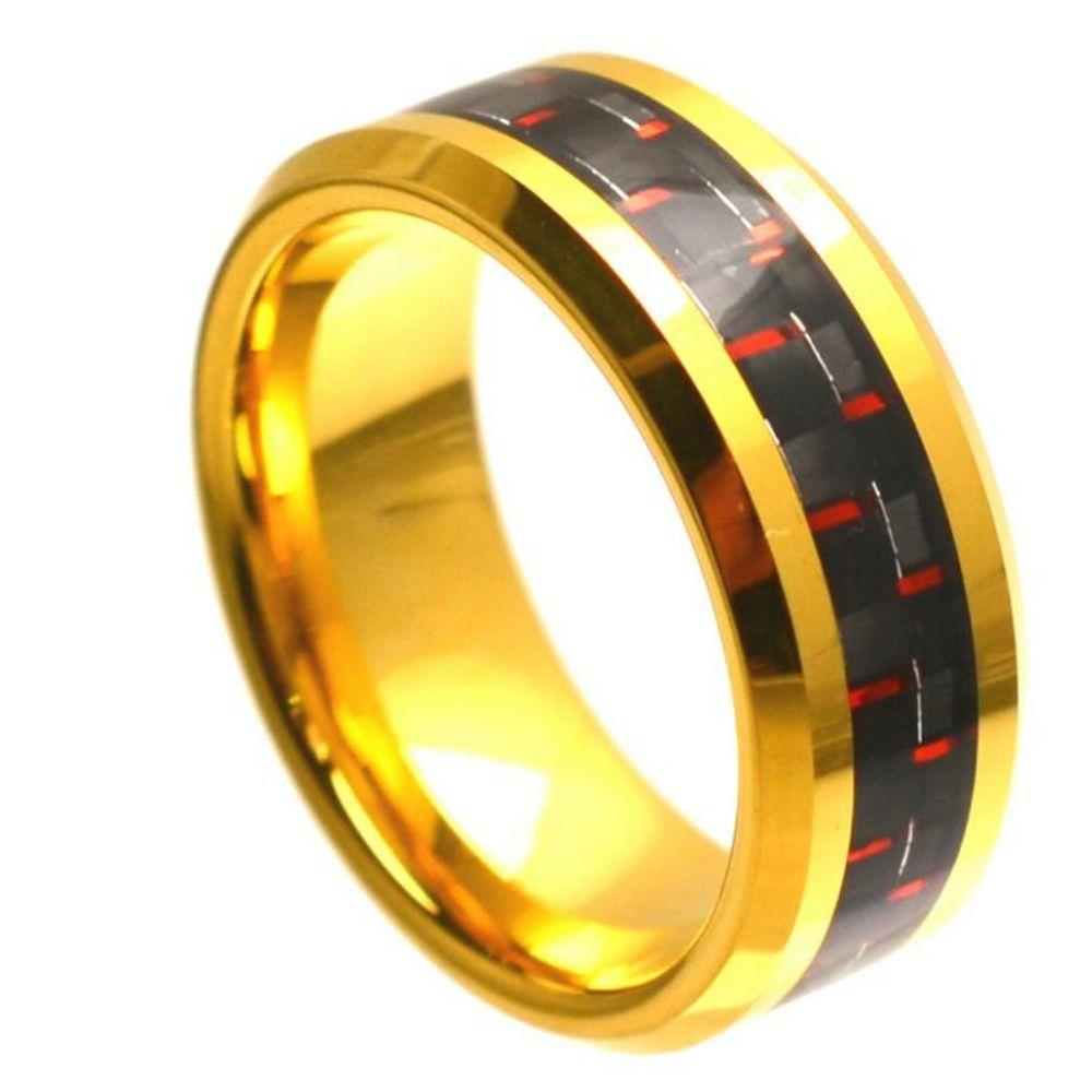 Yellow Gold Plated High Polish with Red & Black Carbon Fiber Inlay Beveled Edge - 8mm