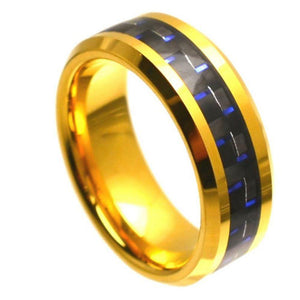 Yellow Gold Plated High Polish with Blue & Black Carbon Fiber Inlay Beveled Edge - 8mm