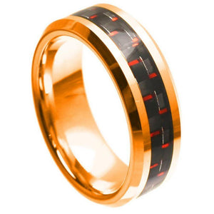 Rose Gold Plated High Polish with Red & Black Carbon Fiber Inlay Beveled Edge - 8mm