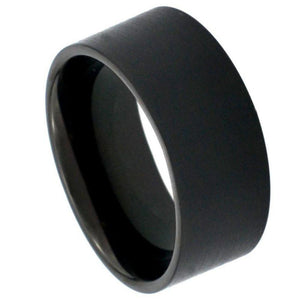Black IP Plated Brushed Pipe Cut Band - 12mm